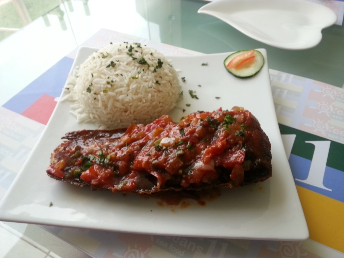 Rice + Grilled Catfish in Hot Tomato Sauce